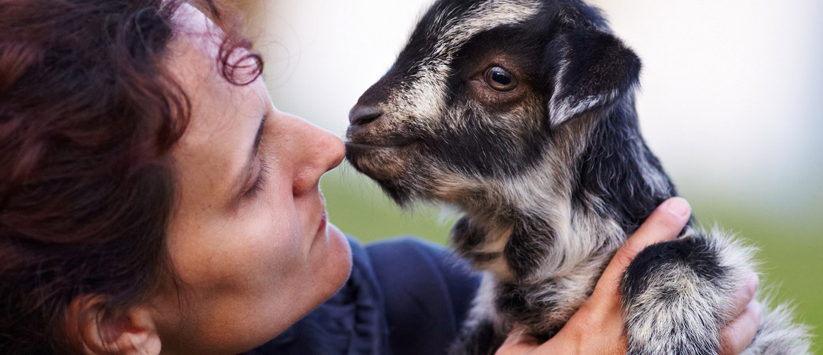 Portrait of a young woman holding a baby goat outdoor